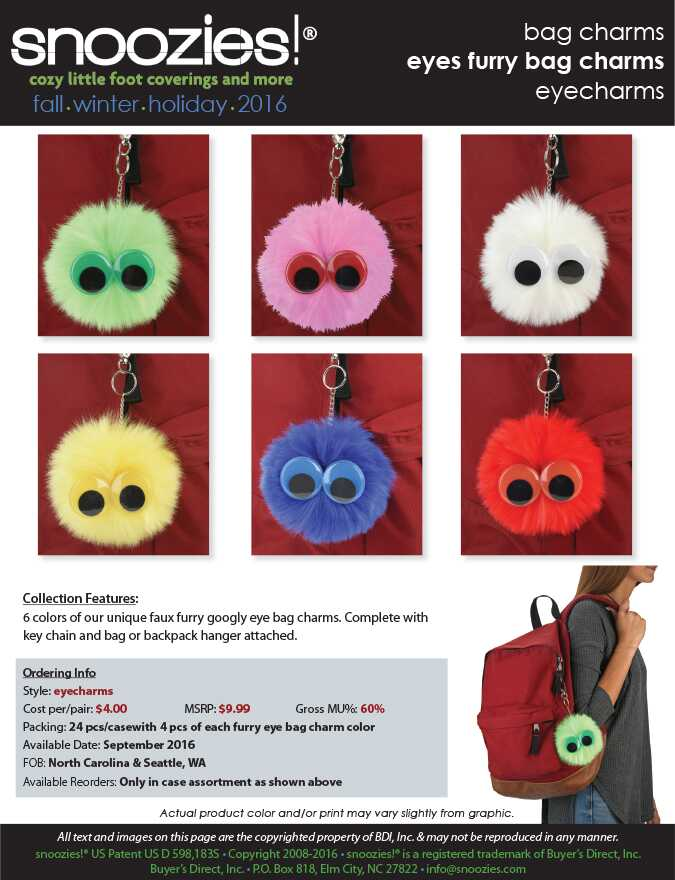 googly eye furry bag charms